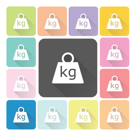 ton: Weight Icon color set illustration.
