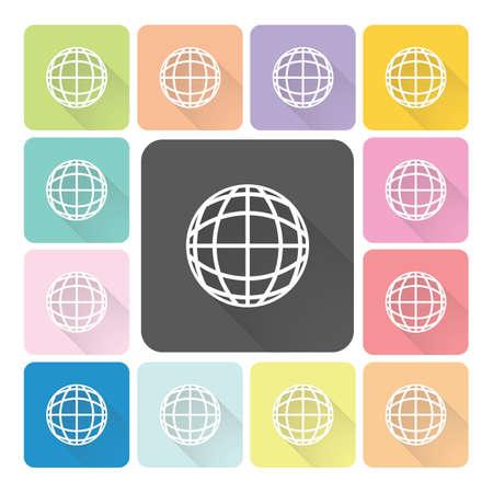 Globe Icon color set illustration. Vector