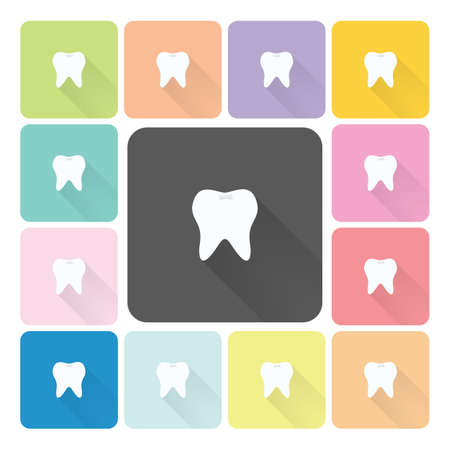 teeth white: Tooth Icon color set illustration. Illustration