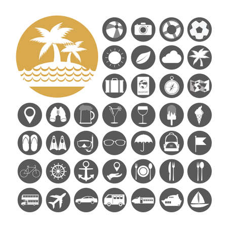 Summer Icon set vector illustration. Vector