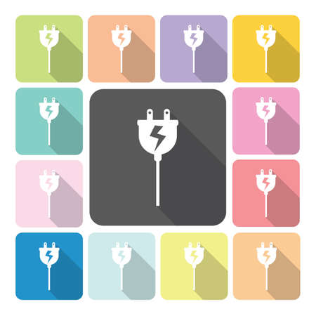 Electric plug Icon color set vector illustration Vector