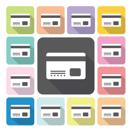 commercial activity: Credit card Icon color set vector illustration Illustration