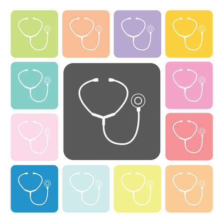 listening to heartbeat: Stethoscope Icon color set vector illustration