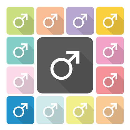 heterosexuality: Male Icon color set vector illustration. Illustration