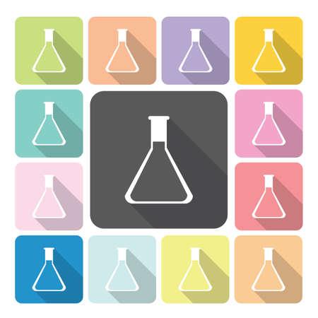 sterilization: Flask Icon color set vector illustration. Illustration