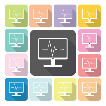 Computer diagram Icon color set vector illustration. Vector