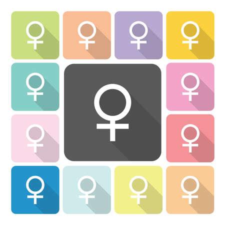 heterosexuality: Female Icon color set vector illustration. Illustration