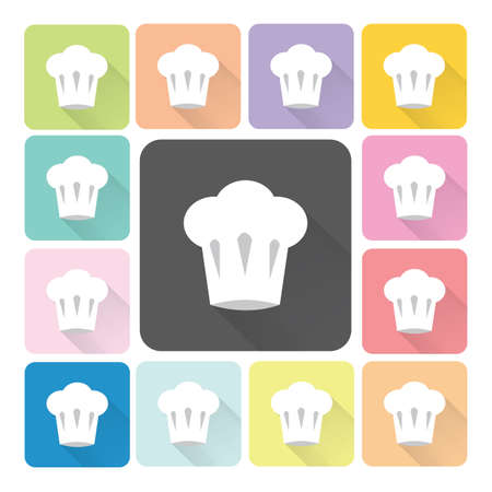replaceable: Chef hat Icon color set vector illustration. Illustration