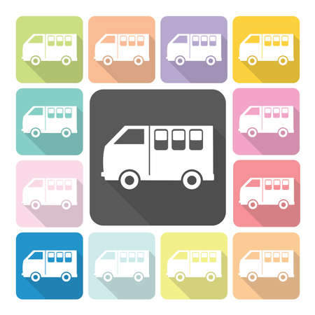 Van Icon color set vector illustration.