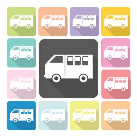 family van: Van Icon color set vector illustration.