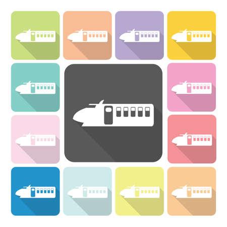 train icone: Train couleur Icon set illustration vectorielle.
