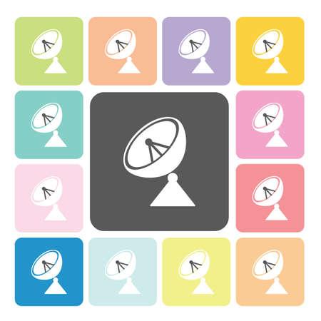 radio waves: Satellite Icon color set vector illustration. Illustration