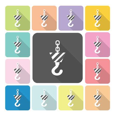 lading: Crane hook Icon color set vector illustration. Illustration