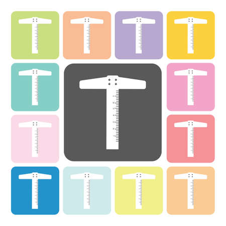 straight edge: T-square ruler Icon color set vector illustration.