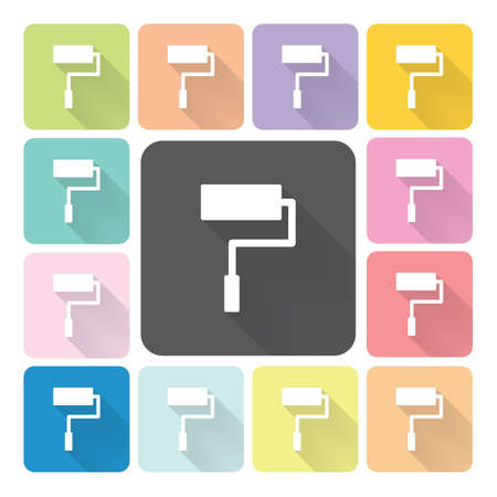 redecorate: Paint roller Icon color set vector illustration. Illustration