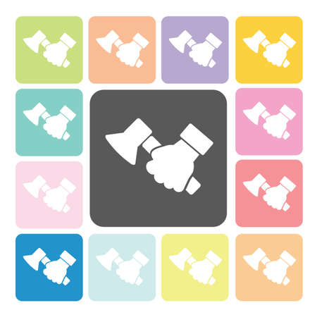 Hand holding a axe Icon color set vector illustration. Vector