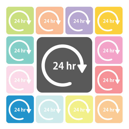 24 hours Icon color set vector illustration Vector