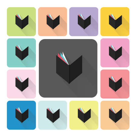 open diary: Book Icon color set vector illustration
