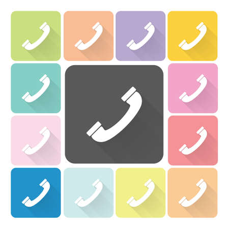 telephone receiver: Phone Icon color set vector illustration. Illustration