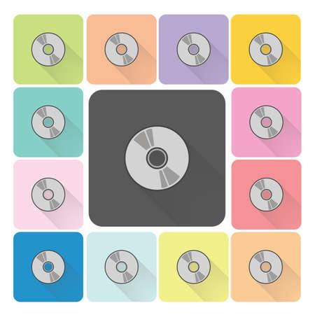 cdr: CD or DVD Icon color set vector illustration. Illustration