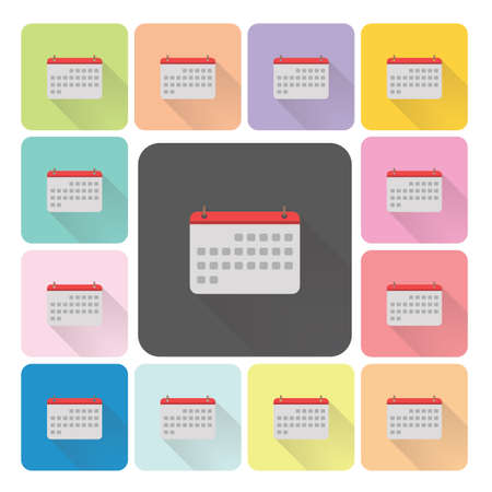 calender icon: Calender Icon color set vector illustration. Illustration