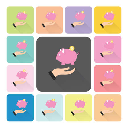 economizing: Hand holding piggy Icon color set vector illustration.