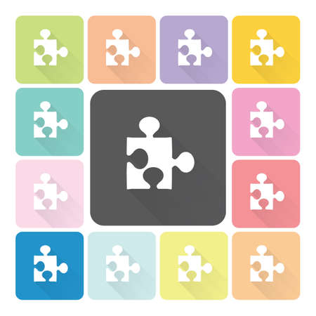 Jigsaw Icon color set vector illustration. Vector