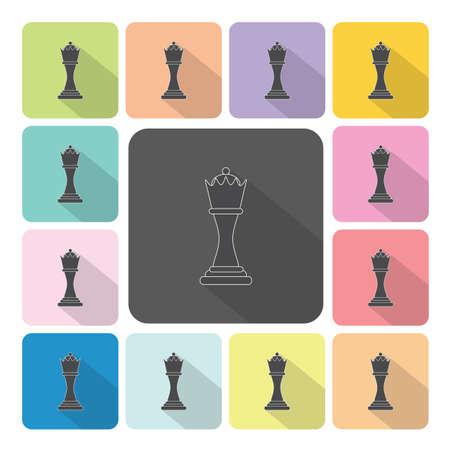 regina: Chess Icon color set vector illustration. Illustration