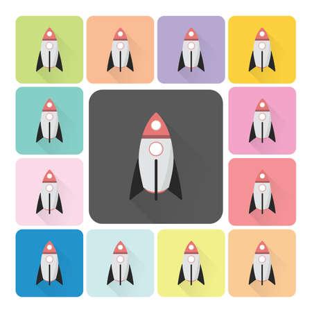 mosca caricatura: Rocket Color del icono conjunto Ilustraci�n vectorial.
