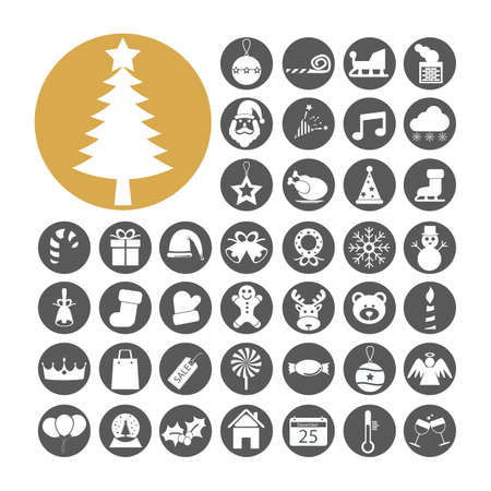 Christmas Icon set vector illustration. Vector