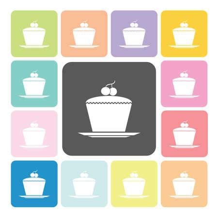 Cake Icon color set vector illustration. Vector
