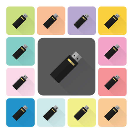 kilobyte: Flash drive Icon color set vector illustration.