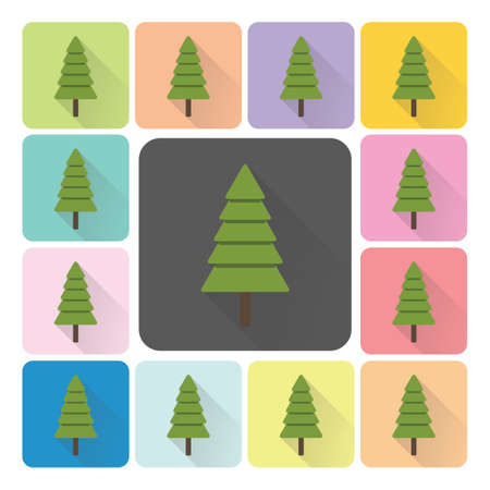 Christmas trees Icon color set vector illustration. Vector