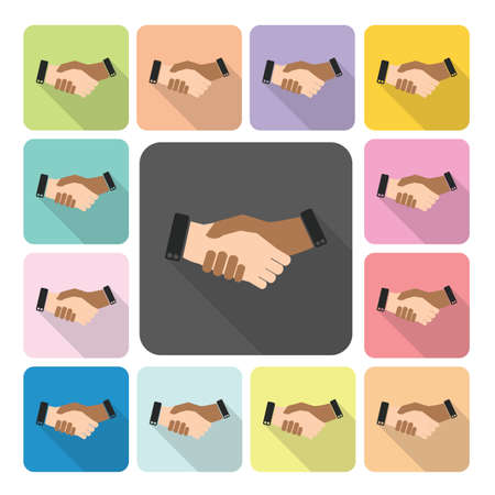 shake hand: Hand shake Icon color set vector illustration. Illustration