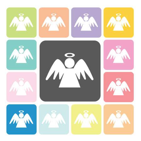 Angel Icon color set vector illustration. Vector