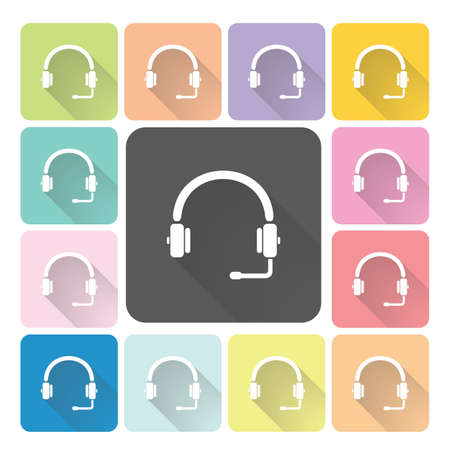 dj headphones: Headphones Icon color set vector illustration.