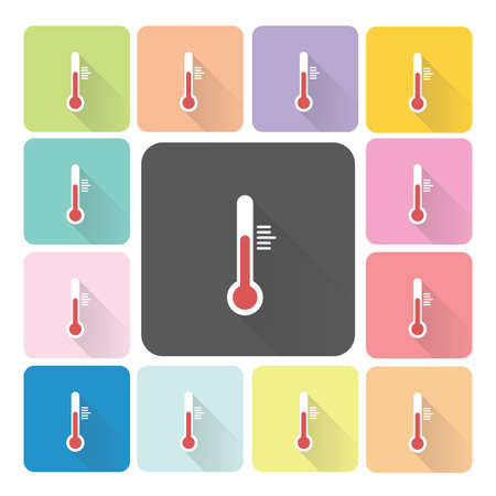 Thermometer Icon color set vector illustration. Vector