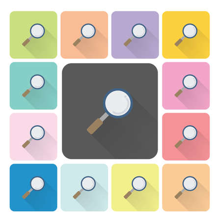 Magnifier Icon color set vector illustration. Vector