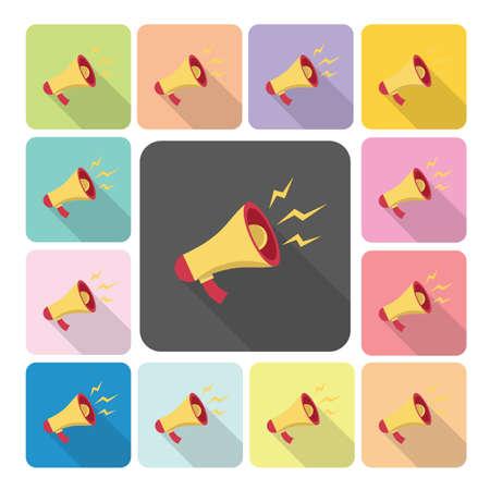 Megaphone Icon color set vector illustration. Vector