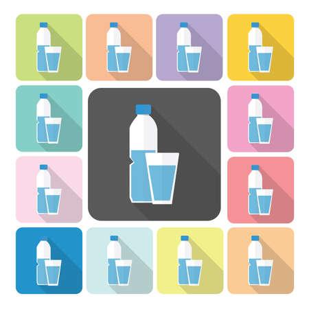 vaso con agua: Vidrio y botella de agua Icono conjunto de ilustración vectorial de color.