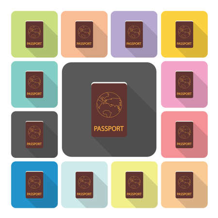 Passport Icon color set vector illustration. Vector