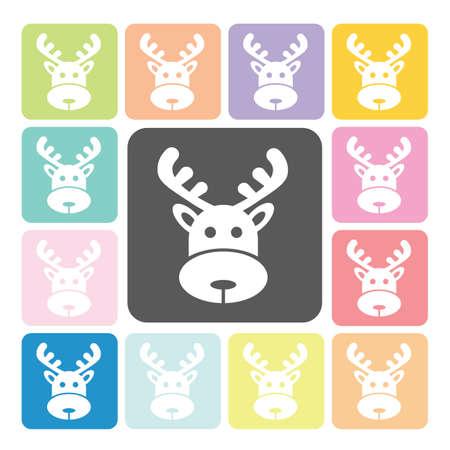 running reindeer: Deer Icon color set vector illustration.