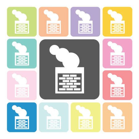 smoke stack: Pipe and smoke Icon color set vector illustration.