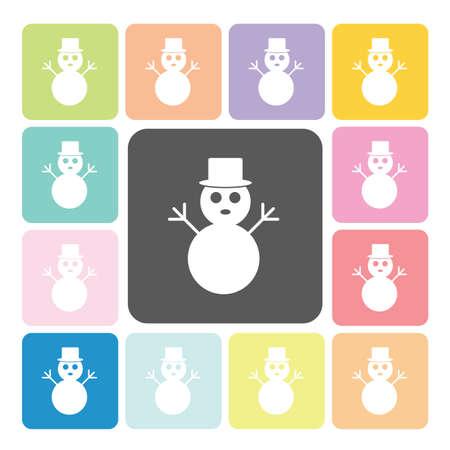 tophat: Snow man Icon color set vector illustration. Illustration