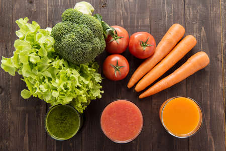 Vegetable juices&smoothie with fresh ingredie Stock Photo
