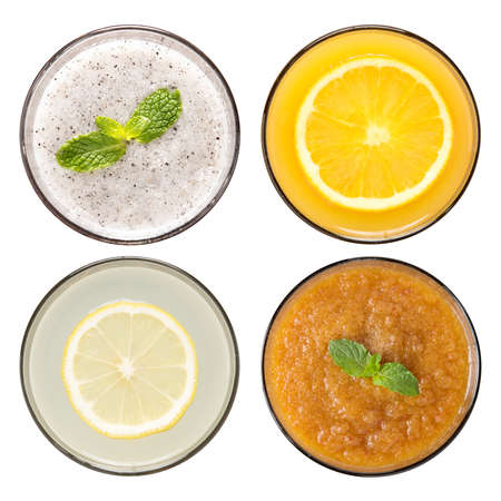 orange yellow: Set of fruit smoothie and fruit juice in glasses isolated on white  Stock Photo