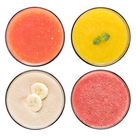 Set of fruit smoothie in glasses isolated on white  Stock Photo