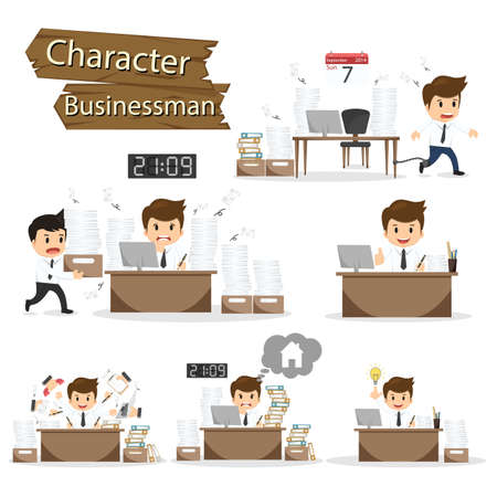 stressed businessman: Businessman character on office worker set vector illustration. Illustration