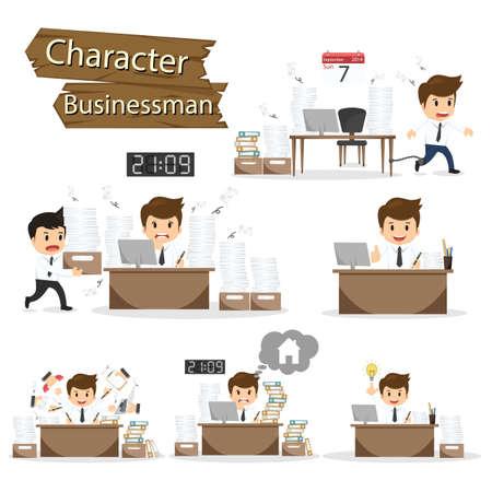 perezoso: Carácter del hombre de negocios en oficinista establece ilustración vectorial.