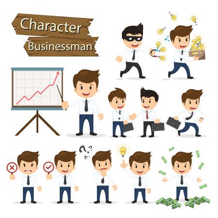 personas pensando: Conjunto de caracteres de negocios que expresa el sentimiento y emocional concepto de ilustraci�n vectorial.